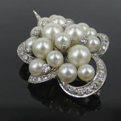 Vintage 1.80ct Diamond & Akoya Pearl 14K White Gold Brooch