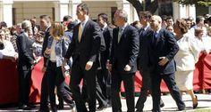 Alberto Fabra, junto a los Príncipes de Asturias, el Ministro de Educación y Cultura y la Alcaldesa de Valencia, en el V Centenario del Hospital General.