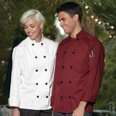 Moroccan Chef Coat by Uncommon Threads - Colorful fashion for the kitchen! Black buttons, thermometer pocket, reinforced bar tacking and reversible closure. Available in White, Red or Burgundy. http://www.chefscloset.com/catalog/moroccan-chef-coat-p-23655.html
