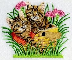 Best Friends Cats 2 - 2 Sizes! | Tags | Machine Embroidery Designs | SWAKembroidery.com Ace Points Embroidery