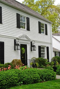 Tulips Are Blooming (pretty pink tulips) Colonial House Exteriors, Colonial Exterior, House Paint Exterior, Exterior Design, Outside House Colors, White Brick Houses, Madison Homes, True Homes, Starter Home