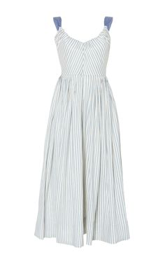 Linen Stretch Stripes Ribbon Dress by LUISA BECCARIA Now Available on Moda Operandi