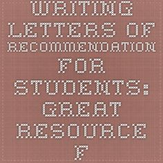 Writing Letters of Recommendation for Students: Great Resource from OWL Purdue