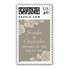 Vintage Roses Save the Date Wedding Postage Stamps- Personalized with names of bride and groom => http://www.zazzle.com/vintage_roses_cream_on_dusty_gray_save_the_date_postage-172110056070048951?CMPN=addthis&lang=en&rf=238590879371532555&tc=pinWideasVintageRosesSavetheDatestamp