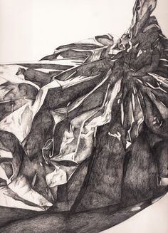 Bin Bag drawing, specifically looking at the form of the object, the shapes created by the folds and lighting, the similarities the plastic has to fabric and the theme of the urban environment - 4B and 6B Pencil