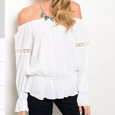 White off the shoulder top White off the shoulder top!                                     100% rayon Tops Blouses