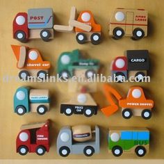 Wholesale Brand New 12 Mini Wooden Educational Toy Cartoon Car Toy For XMAS Gift + Free Shipping