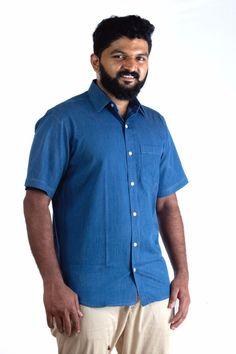 56741866d7 COBRIO Indigo Blue Denim Shirt 100% Cotton Short Sleeve Size M 40  COBRIO