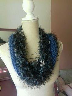 Snood en laine bleu et gris