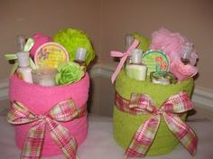 Pamper Me Towel Cakes! Towel, candle, lotion, scrubby, soaps, and face scrub :)
