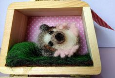 Needle-felted hedgehog in a wooden case by PerinBaba on Etsy