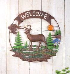 Welcome Deer 3D Metal Wall Decor