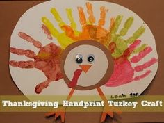 A Thanksgiving Handprint Turkey Craft - fun to make with your kids to preserve memories and get a little messy! Tempera paint, contruction paper, googly eyes and a paper plate are all you need!