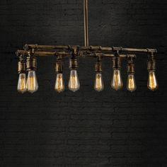 Pipe Downward  Black Loft Pendant Chandelier with 8 Lights
