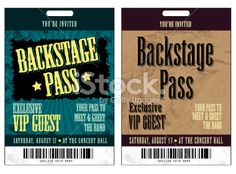 Backstage pass & ticket templates - commercial use | Theme parties ...