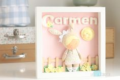 Personalized diorama in a shadow box frame.  Would be cute for a little girl's room