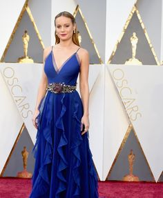 Not sure there's anywhere except the Oscars to wear this dress, but I love it. Color, shape, embellishments, even the belt Brie Larson in Gucci