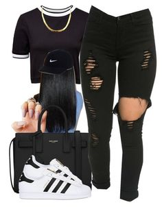 """""""YouTube: @Lightscamerasylvie"""" by trillest-fashion on Polyvore featuring French Connection, Yves Saint Laurent, adidas Originals and NIKE"""