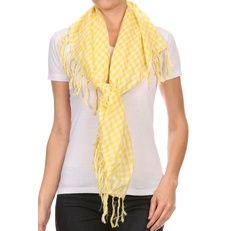 Check Blanket Scarf Lightweight with fringe