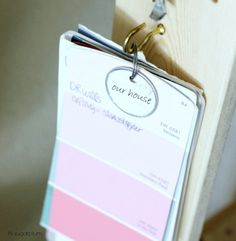 Mount paint swatches on a hook.