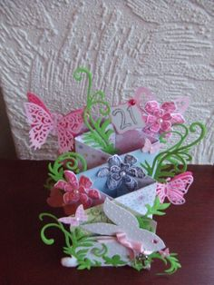 Waterfall / Cascade Card with butterflies and rabbit - 21st birthday - top view. Spellbinders Shapeabilities Floral Flourish