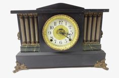 Antique 1900's E. Ingraham Co. Four Column Black, Gold, and Green Mantle Clock