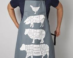 cooking apron - Apron - foodie gift - BBQ apron - Gifts for men - Chef Apron - Cuts of Meat - Dad gift - linen apron - aprons - chef Cool Aprons, Aprons For Men, Bbq Apron, Chef Apron, Carne Asada, Carnicerias Ideas, Gift Ideas, Shrimp On The Barbie, Meat Shop