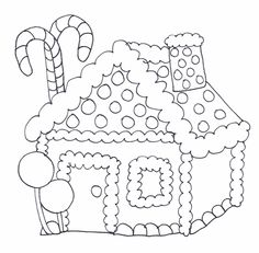 Candy cane house...coloring page