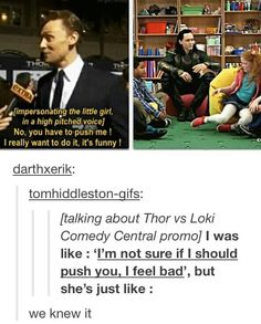 Tom Hiddleston had to be convinced to push a little girl for a commercial...by the little girl, lol! I'd expect nothing less from the real life Disney prince