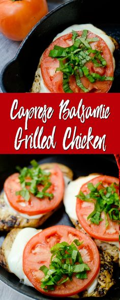 This quick and easy grilled chicken dinner has all of the flavors of a caprese salad. Grilled chicken is topped with fresh mozzarella, ripe tomatoes, and plenty of basil! Balsamic Grilled Chicken, Caprese Chicken, Bbq Chicken, Chicken Salad, Chicken Treats, Healthy Chicken Recipes, Fast Recipes, Keto Recipes, Grilling Recipes