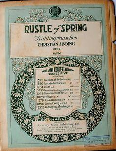 Capa partitura Musical Rustle of Spring Fruhlingsrauchen / Christian Siding / OP.32 Nº 1096: