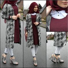 maroon and grey combination Hijab Gown, Hijab Style Dress, Hijab Chic, Hijab Outfit, Islamic Fashion, Muslim Fashion, Modest Fashion, Fashion Outfits, Muslim Girls