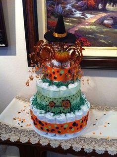 Halloween diaper cake. Made by Nicole Holcomb. Nicoleholcomb@hotmail.com