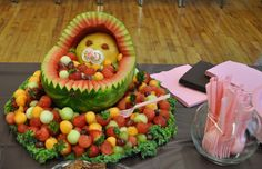 How about a fruit baby for your baby shower? This is probably the cutest idea ever! ~ Design to Shine: Fruit Baby - Baby Shower idea Baby Shower Fruit, Baby Fruit, Watermelon Baby, Cute Baby Shower Ideas, Unique Baby Shower, Baby Shower Themes, Baby Shower Decorations, Fruit Decorations, Watermelon Basket