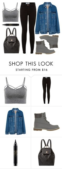 """Casual"" by wolfiexo on Polyvore featuring New Look, Pull&Bear, Timberland, MAC Cosmetics, MCM, black, denim and casualoutfit"