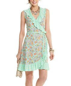 Look what I found on #zulily! Mint Wrapped in Sunshine Wrap Dress - Women #zulilyfinds