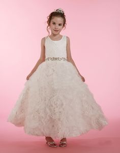 This stunning dress features an embroidered tank top bodice with a beautiful rhinestone satin belt. The dress is finished by a full, floral design organza skirt. Girls Designer Dresses, White Flower Girl Dresses, Organza Dress, Dresses For Less, Princess Style, Stunning Dresses, Bodice, Floral Design, Gowns