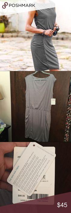 NWT athleta dress Gorgeous athleta dress in grey and creme microstripe. Form fitting. Tencel. Athleta Dresses Midi