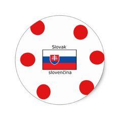 Slovak Language And Slovakia Flag Design Classic Round Sticker - craft supplies diy custom design supply special