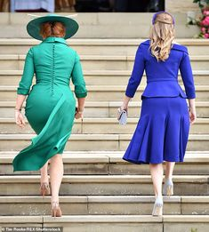Sarah Duchess of York and Princess Beatrice of York attend the wedding of Princess Eugenie of York and Jack Brooksbank at St George's Chapel in Windsor Castle on October 2018 in Windsor, England. (Photo by Pool/Samir Hussein/WireImage) Sarah Ferguson, African Fashion Dresses, African Dress, Sarah Duchess Of York, Eugenie Wedding, Eugenie Of York, Elisabeth Ii, Bride Sister, African Traditional Dresses