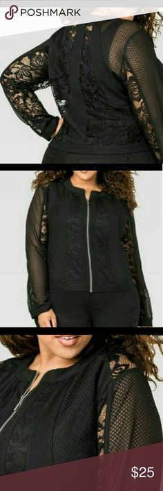 Lace Bomber Jacket In good condition worn one time Size 20 Color black  Zipper bomber style jacket. Reasonable Offers Accepted use the offer button! Ashley Stewart Jackets & Coats Jean Jackets