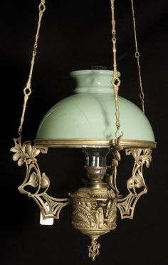 French Art Nouveau Hanging Oil Lamp