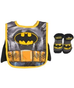 9b611041ee2 Baby-Boys Infant Batman Caped Bib and Bootie Set