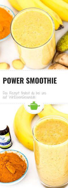 Anzeige | Rezept für einen echten Power Smoothie mit Kurkuma, Birne, Banane und Ingwer. Verleiht Kraft und schmeckt super lecker! Power Smoothie, Grey Plates, Snacks, Cantaloupe, Food And Drink, Meals, Fruit, Ethnic Recipes, Super