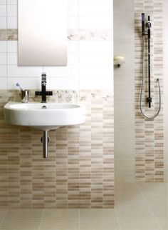 bathroom, Alluring Mosaic Tiles Wall Design For Small Bathroom Space Feat Trendy Floating Sink Under Frameless Mirror - Choosing the Right Design for Your Bathroom Wall to Make It Appealing
