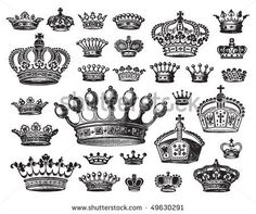 set of antique crown engravings, scalable and editable vector illustration