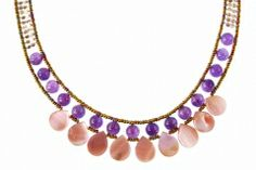"""Stunning Hand Beaded 925 Sterling Silver Necklace by Ziio. Named """"Pink May"""", the multi-colored Murano Glass beads show case Purple Amethyst Gemstones, Silver Beards and Pink/Purple Agate Beads. Nine Tear Drops of Pink Mother-of-Pearl adorn the front. treborstyle.com"""