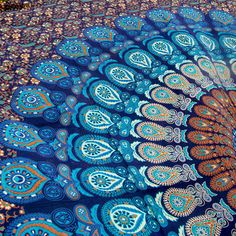Mesmerizing medallion tapestry crafted in soft woven cotton. Instantly adds a unique touch of boho charm to any living space or dorm room. Doubles as a beach or picnic blanket and is festival-friendly Hippie Bedding, Tapestry Bedding, Dorm Tapestry, Bohemian Bedspread, Tapestries, Colorful Tapestry, Blue Tapestry, Mandala Tapestry, Hanging Fabric