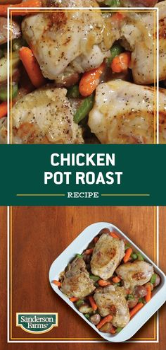This hearty family meal is made all in one pot. Since it's ready in one hour and can feed a family of four, you are able to spend your time doing what matters; being with the people you love. Chicken Pot Roast Recipe, Roasted Chicken, Chicken Recipes, Baby Red Potatoes, Baby Carrots, Casserole Recipes, Crockpot Recipes, Healthy Recipes, Family Meals