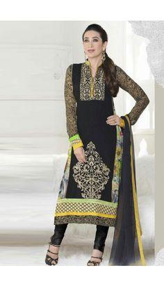 Karishma Kapoor Bollywood Celebrity in Black Georgette Churidar Suit  - DMA13265
